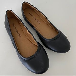 Lucky Brand Erin Black Leather Flats Shoes 7.5 NEW